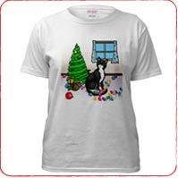 Christmas Tuxedo Cat T-Shirts and Gifts