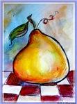 Pear! Colorful, fun fruit!