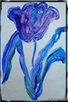 Tulip! Blue spring flower art!