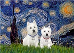 STARRY NIGHT<br>Two Westies<br>With Star of David
