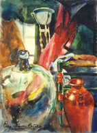 STILL LIFE WITH LARGE BOTTLE