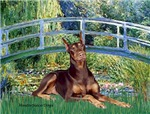 LILY POND BRIDGE<br>& Red Doberman Pinscher
