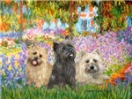 GARDEN AT GIVERNY<br> & Cairn Terrier Trio