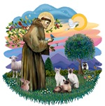 St. Francis (ff) with<br>Three Siamese Cats