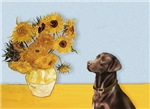 SUNFLOWERS<br>With a Chocolate Labrador (#11)