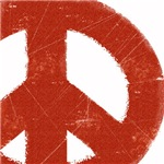Vintage Red Peace Sign ~