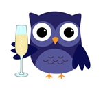 Owl New Year Party Champagne Purple