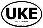 UKE, Ukulele Player oval