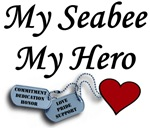 Navy My Seabee My Hero Dog Tags with Heart