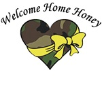 Welcome Home Honey Camo Heart Yellow Ribbon