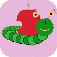 cute worm eating apple