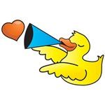 Cute rubber duck speaking love