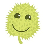 Happy Durian cute fruit with a smile