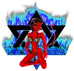 The Girl She Devil Pentagram Blue Flames