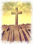 Christian Cross On Mountain
