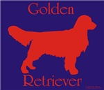 big red on blue Golden Retriev