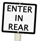 ENTER IN REAR Sign