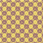Purple and Yellow Retro Floral Print
