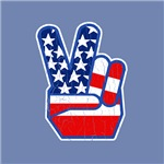 1970s Vintage USA Flag Peace Hand