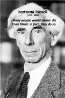 Clever Humour: Bertrand Russell Thinking Quote