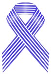 Blue and White Stripe Awareness Ribbon