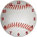 Baseball Clock (Red, Green or Blue)