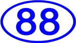 Number 88 Oval (Blue)