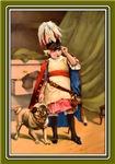 VINTAGE DOG ART: GIRL WITH PUG