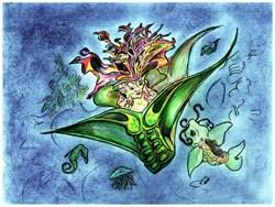 Coral Mermaid Atargatis, Underwater Fantasy Art