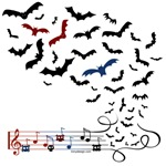 Bat Music Design  T-Shirts Magnets, Stickers, and more!