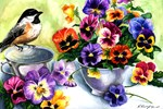 Chickadee and Pansies iPhone Cases