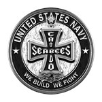 US Navy Seabees Cross Black