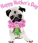 Sweet Spring Mother's Day Pug with Pink Flowers