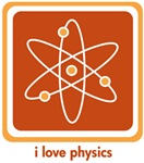 This simple science design features an atom with three electrons spinning around the nucleus and would make a cool geek gift for a physicist who loves their science!