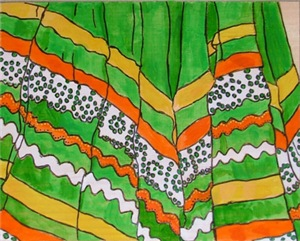 Folkorico Green Skirt
