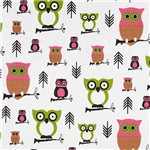 Cute Baby Owls In Pink and Green