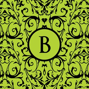 MONOGRAM Green & Black Damask Pattern