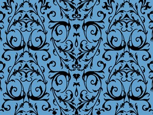 Blue And Black Damask Pattern