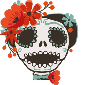 Cute Skull Wearing Flowers