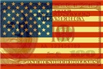 Flag with Hundred Dollar Bill T-shirts
