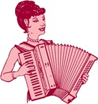 Retro Pink Lady With Accordion T-shirts
