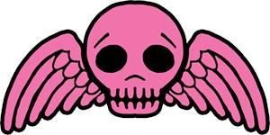 Cute Pink Winged Skull