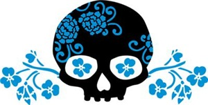 Skull With Blue Blossoms