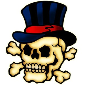 Skull In Top Hat Tattoo Art