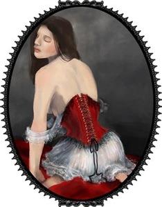 Woman In Red Velvet Corset