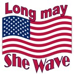 Long may she wave - USA flag t-shirts