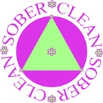 Clean and Sober Flower Circle Triangle