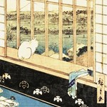 Japanese Painting of Cat at window
