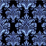 Blue on Black Damask