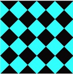 Harlequin Diamond Argyle Pattern Neon Blue Black
